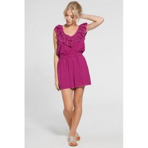 French Connection Sonata Romper Silk Summer Berry